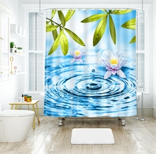 Water Drop and Lotus Pattern 3d Shower Curtains Beauty Bathroom Curtain Thicken Waterproof Thickened Bath