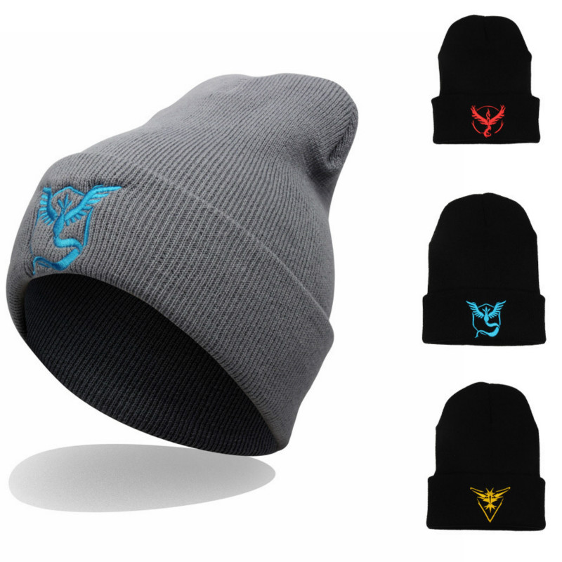 Winter Fashion Knitting Beanies Women and Men Hip Hop Hat Cartoon Pokemon Embroidery Skullies Beanies