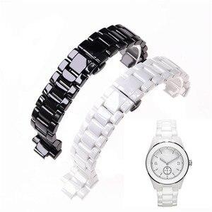 Image 1 - Aplicável para armani cerâmica relógio 20mm23mm preto branco brilhante pulseira cerâmica relógio modelo ar1424 ar1472 ar1421 ar1424 pulseiras de relógio