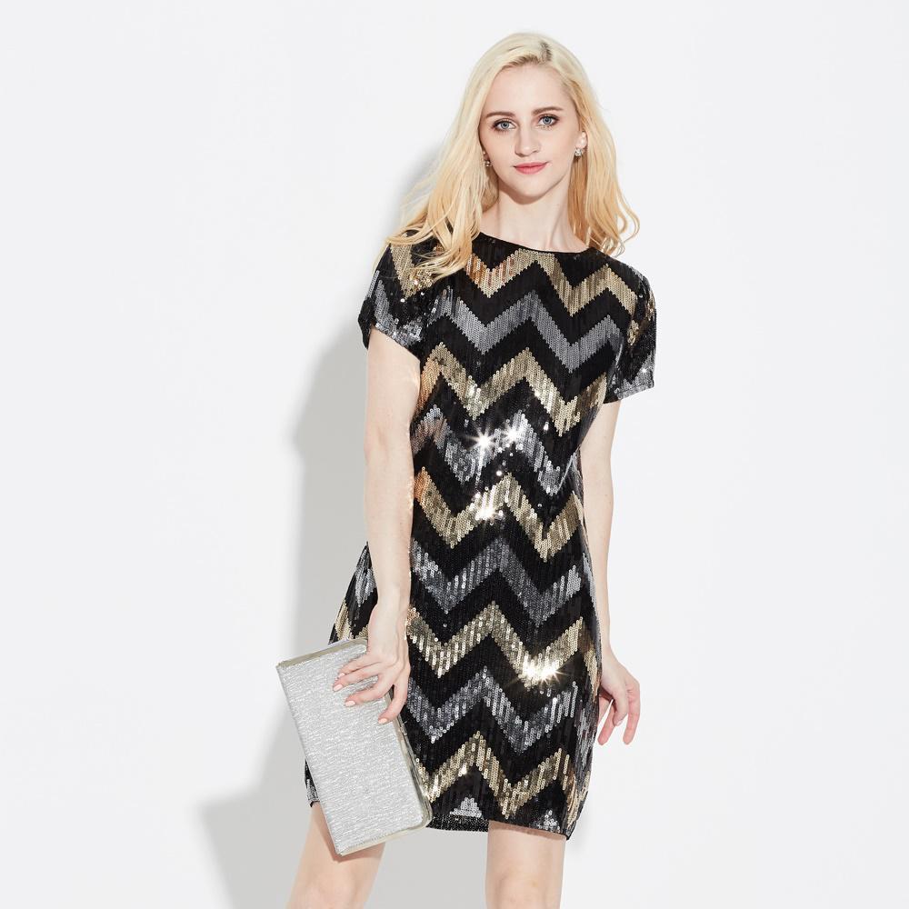 Халат волнистый узор геометрический прямой Винтаж Гэтсби блестки Потрясающие короткий рукав мини приталенные Женские коктейльные платья для вечеринок - Цвет: BLACK
