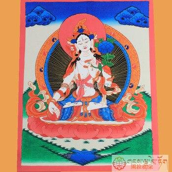 Pure hand-painted thangka Nepal White tara thangka bodhisattva figure of Buddha