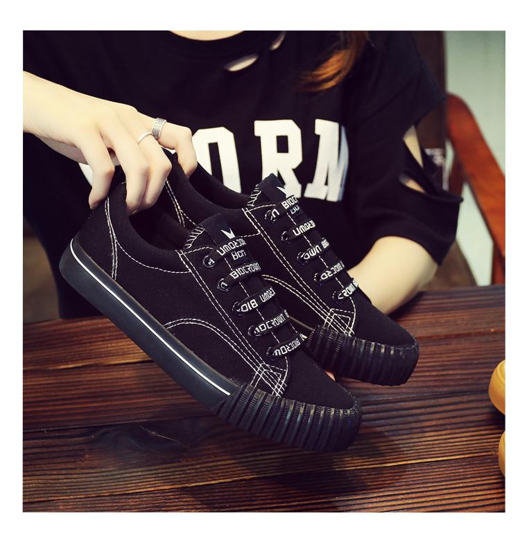 Spring Korean versatile canvas shoes female 2018 new students Harajuku cloth shoes casual black Hong Kong wind board shoes 30