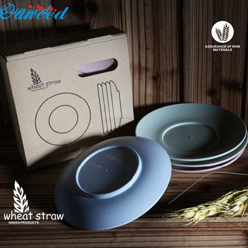 Ouneed Happy Home 4 Tableware Plates Natural Degradation Of Wheat Straw Fiber Environmental Tableware Plates 1 Piece