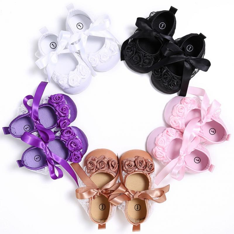Infant Baby Girls Newborn Shoes Spring Summer Sweet Soft Sole Prewalker Anti-slip Dance Ballerina Dress Pram Crib Shoes