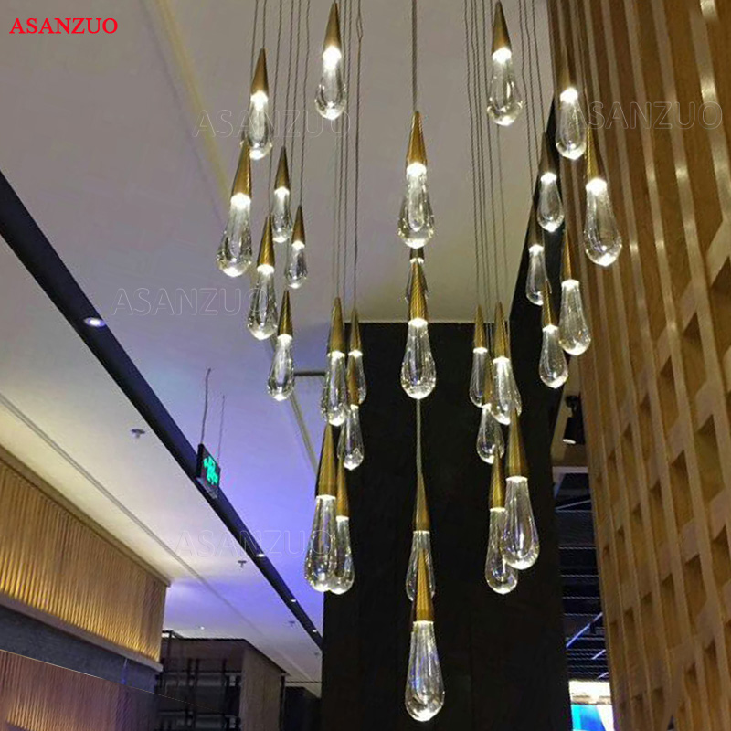 Gold Water Drop Crystal Creative Pendant Light European-style Luxury Restaurant LED Lamps Moderm Glass Indoor Lighting