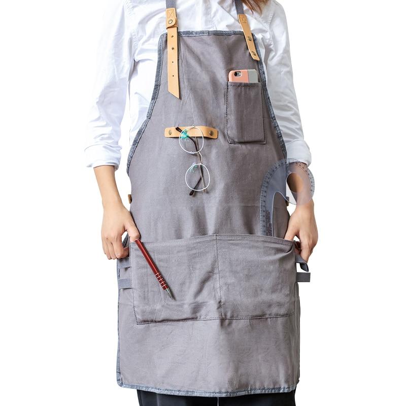 Bbq Creatif Senior Toile Tablier Bavoir En Cuir Sangles Cuisine