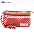 Billetera Women Wallet Coin Purse Dot Lace Canvas Girl Cute Multi Pocket Phone Wallet Women Kawaii Coin Pouch cheap coin purse