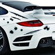 2Pcs Car Styling 3D Decals Emblem Symbol Fake Bullet Hole Gun Shots Creative personalized Stickers Funny Car Helmet Stickers