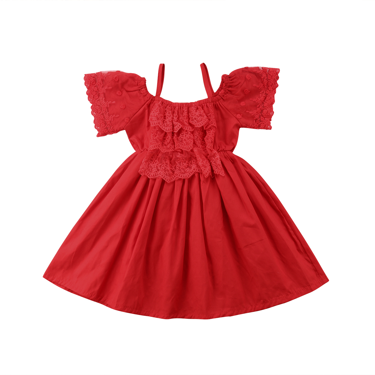 Kid Baby   Flower     Girl     Dress   Lace Off Shoulder Sundress Formal Party   Dress   Clothes 2018