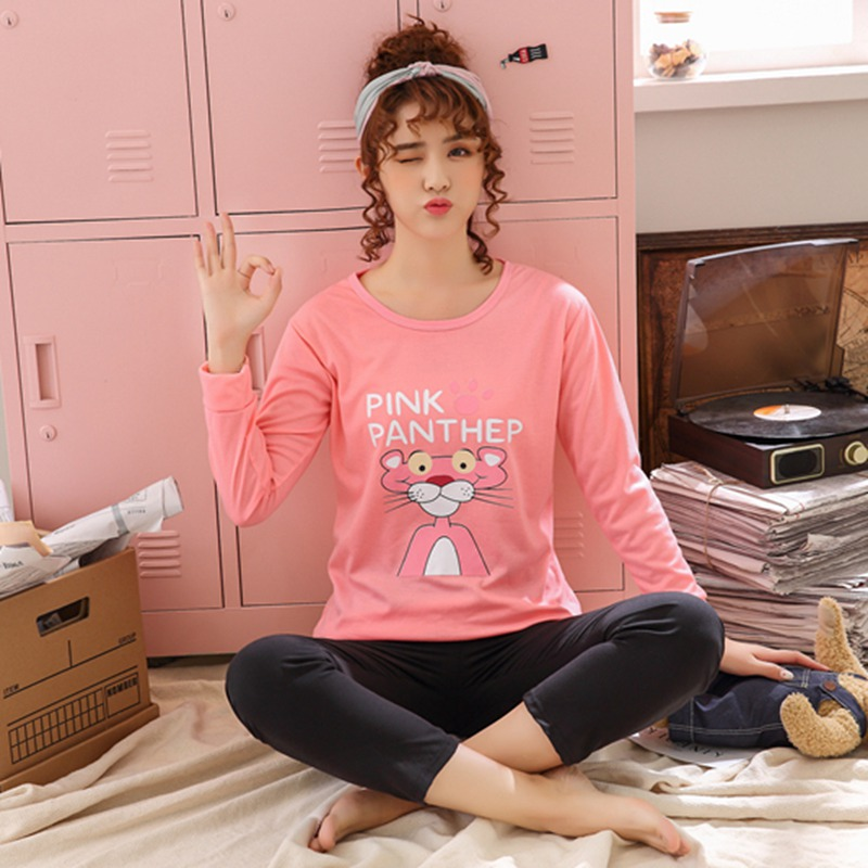 Spring Autumn Cotton   Pajamas     Sets   for Women Long Sleeve Pyjamas Girls Cute Cartoon Sleepwear femme Homewear Pijama Mujer Clothes