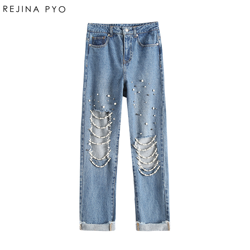 REJINAPYO Women Loose Denim Straight Jeans High Waist Female Embroidery Flares Ripped Holes Pant Jeans High Street Ankle-Length