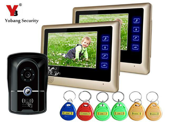Yobang Security RFID Access 7LCD Video Door Phone Rainproof Doorphone IR Night Vision Video Doorbell Speakerphone Intercom