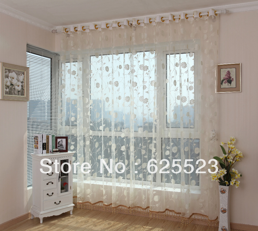 Living Room Ready Made Curtains Aliexpresscom Buy Free Shipping Burnout Voiles White Tree