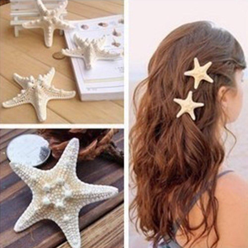 Starfish Hair Clips For Women Plastic Hair Bows With Alligator Clip Girls Summer Beach Sea Shell Hairgrips Hair Accessories