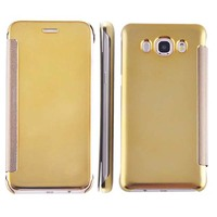 Luxury Smart Flip Slim Mirror Hard Clear Cover Mobile Phone Case For Samsung Galaxy A8 2016