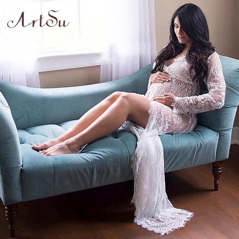 Buy Cheap ArtSu 2017 Pregnant Women Maxi See Through Floral Elegant Lace Long Dress Sexy Summer Evening Party Dresses Vestidos ASDR20033