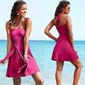 Vestidos de Praia verão Casuais Peito Envolto Vestido Sem Costas Vestido 12 Cores Multy Maneira Estofamento Removível Convertible Vestido de Praia Quente