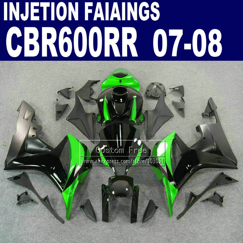 Road Injection fairings kit for Honda 600 RR fairing set 2007 2008 CBR 600RR CBR 600 RR 07 08 black green motorcycle bodywork