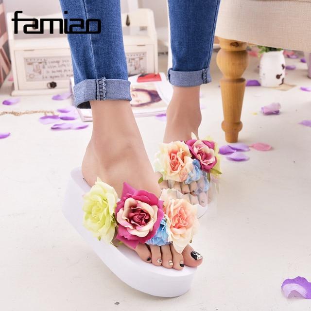 New Women Sandals Fashion Flower Summer Sandals Wedges Flip Flops Platform Slippers Shoes slippers zapatillas chinelo sandalia