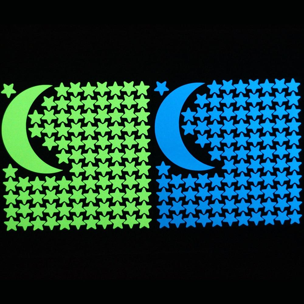 Wandaufkleber EntrüCkung 1 Mond 100 Sterne Leuchtende Wand Aufkleber Glow In The Dark Wohnkultur Aufkleber Für Kinder Zimmer Diy Personalisierte Dekoration Delikatessen Von Allen Geliebt