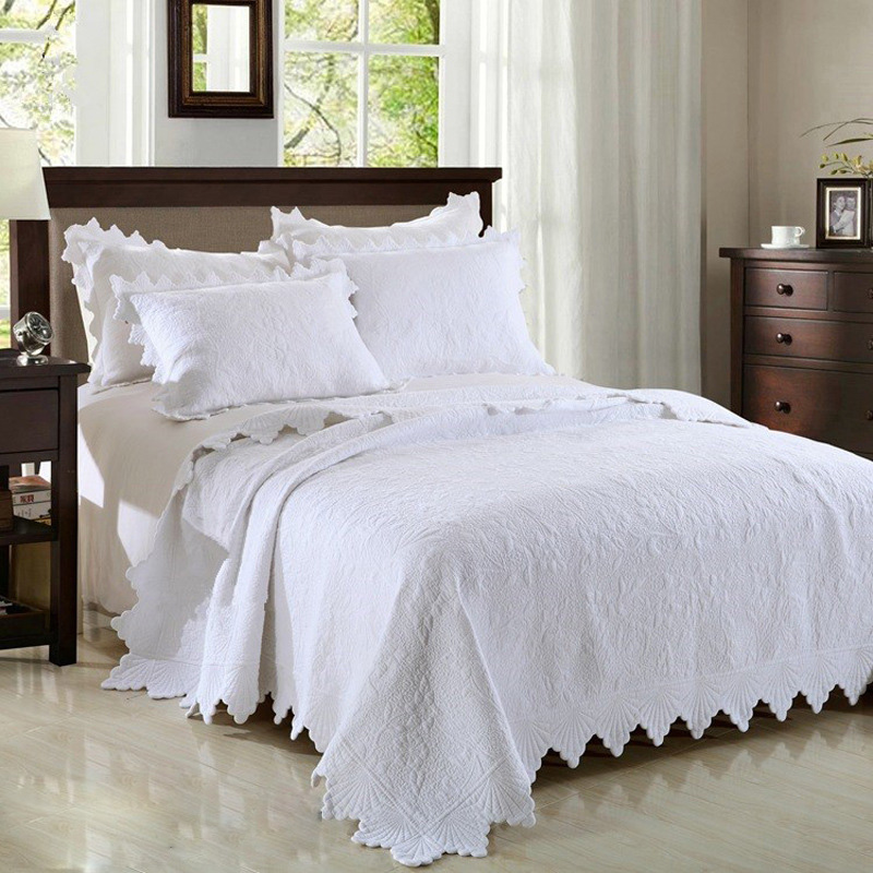 Premium Quality Pure White Embroidery Quilted Bedspread 3pcs Cotton Quilts Coverlet Set Bed Cover Flower Pattern