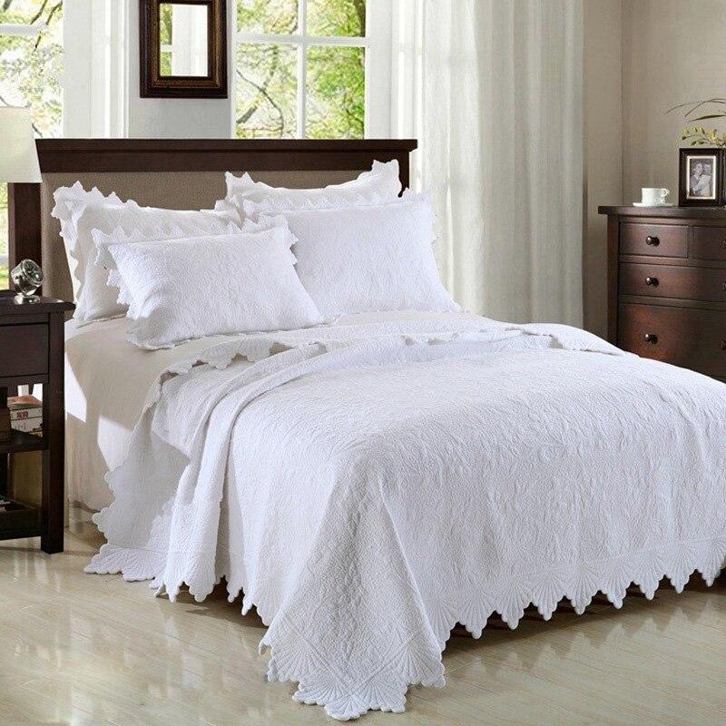 Premium Qualité Pur Blanc Broderie couvre-lit matelassé 3 pièces plaids en coton ensemble couvre-lit housse de lit Fleur Motif Roi Taille