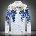 Китайский национальный стиль вышивка золотая фольга печать высокого класса рубашка 2016 Осень мода синий и белый фарфор мужчины рубашка M-5XL