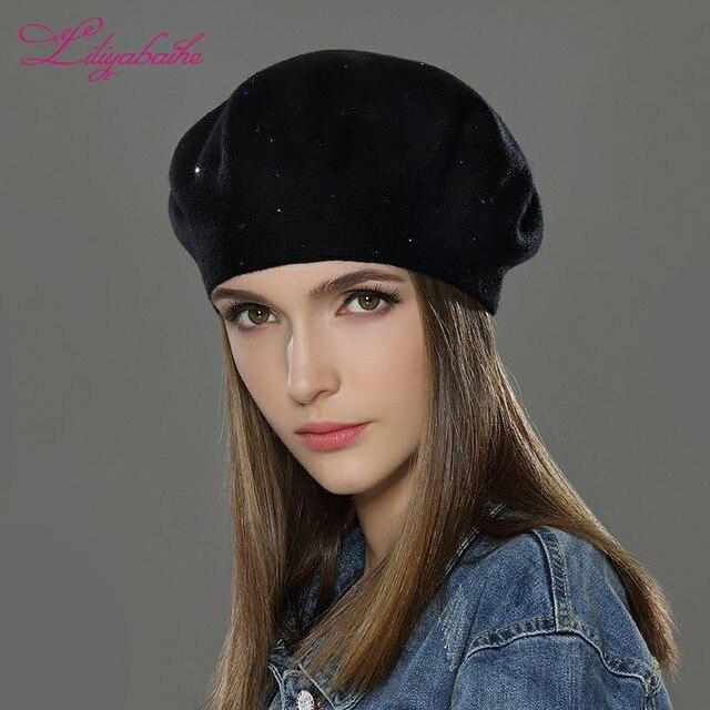 LILIYABAIHE Women Winter Hats Wool Knitted Berets Cap The Decoration Thick Warm Hats