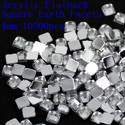 Free shipping new style 4mm 5mm 6mm 8mm 12mm square earth facets crystal color Acrylic flatback rhinestone glue on beads 12 facets of a crystal