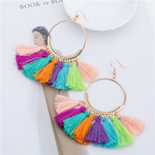 Handmade Tassel Earrings for Women Ethnic Big Drop Earring Bohemia Fashion Jewelry Trendy Cotton Rope Fringe Long Dangle Earings(China)