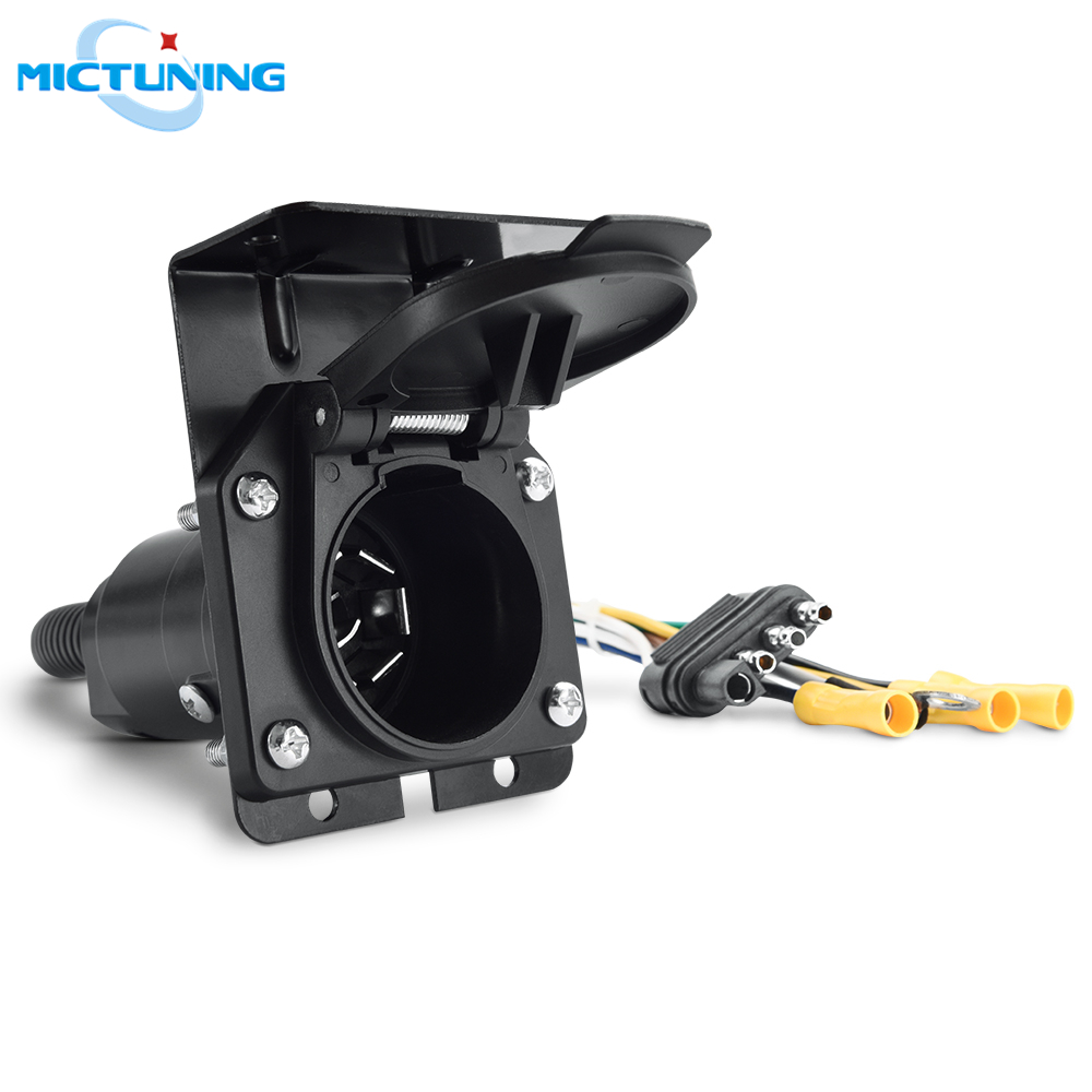 NEW SUN 4 Way Flat Truck to 7 Way Round RV Trailer Blade Socket Adapter with Mounting Bracket