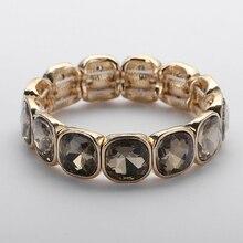 Новое поступление Модный Блестящий большой квадратный серый коричневый белый кристаллический браслет растягивающийся браслет из сплава 4 цвета