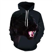 Cool 3D Print Animal Black Beast Jacket Men/women Hiphop Streetwear Hoodies Pullover Hat Sweatshirts Boys Fashion Tracksuirts varsity stripe trim animal 3d print zippered jacket for men