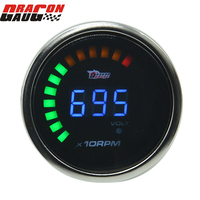 52mm Sunglasses white Shell silver ring Digital LED Auto Car Motorcycle Tachometer and volt gauge 0 9999 RPM Free shipping