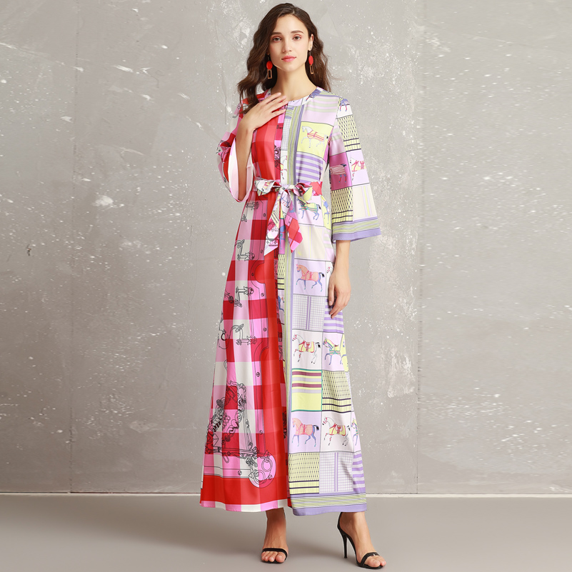 69e37fdc9fa ... High quality 2018 new designer fashion runway Maxi dress Women s Flare  Sleeve pattern print Plaid vintage ...