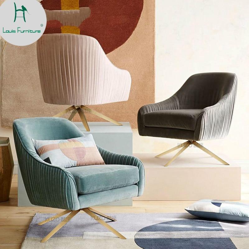 Living Room Furniture St Louis: Louis Fashion Single Sofa Nordic Cloth Art Rotating Single