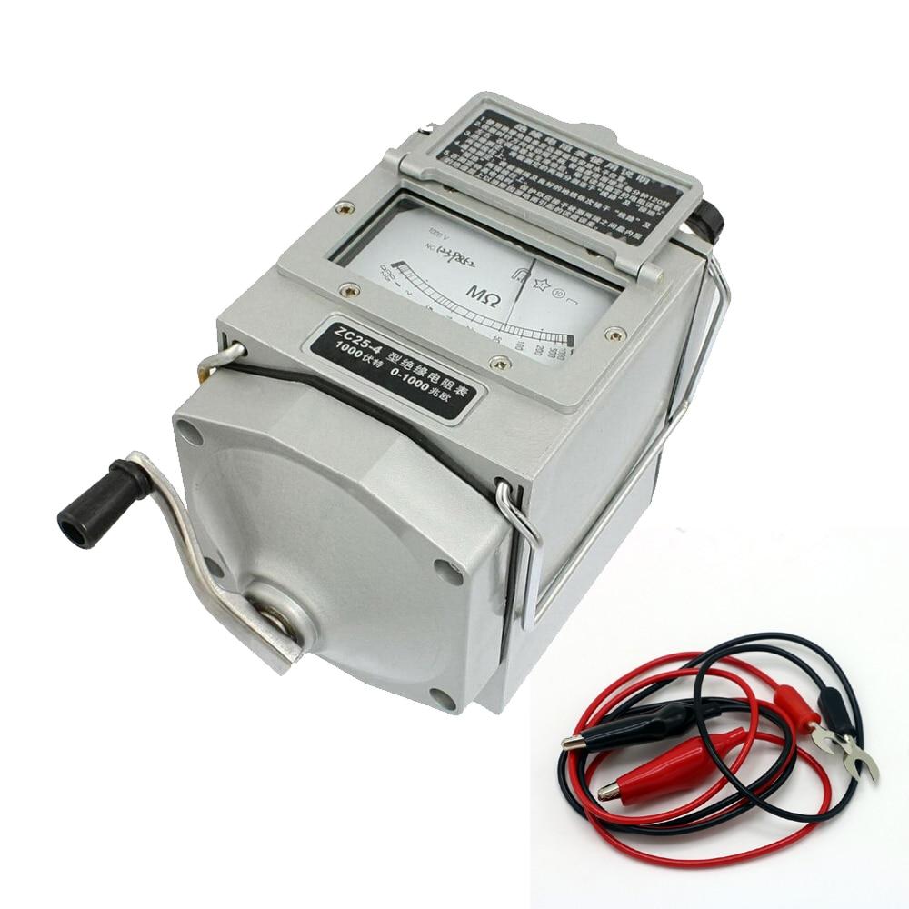 0-1000M ohm Insulation Megohm Tester Resistance Meter Megger Megohmmeter ZC25-4 1000V High quality (ZC25-3 500v) цена и фото