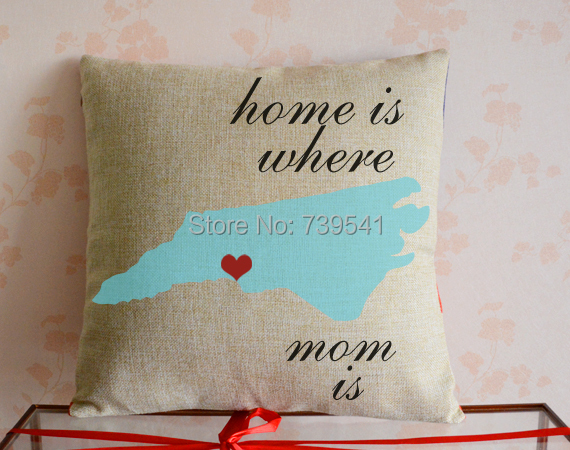 Custom state map pillow cover Personalized home decor pillowcase Home is where mom is Gift Pillow Texas California Florida