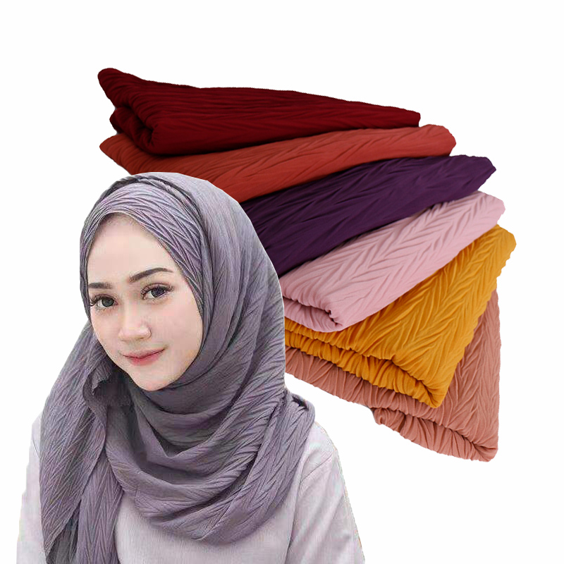 New style plain pleated bubble chiffon hijab scarf crinkle shawl women solid muslim headscarf wraps fashion