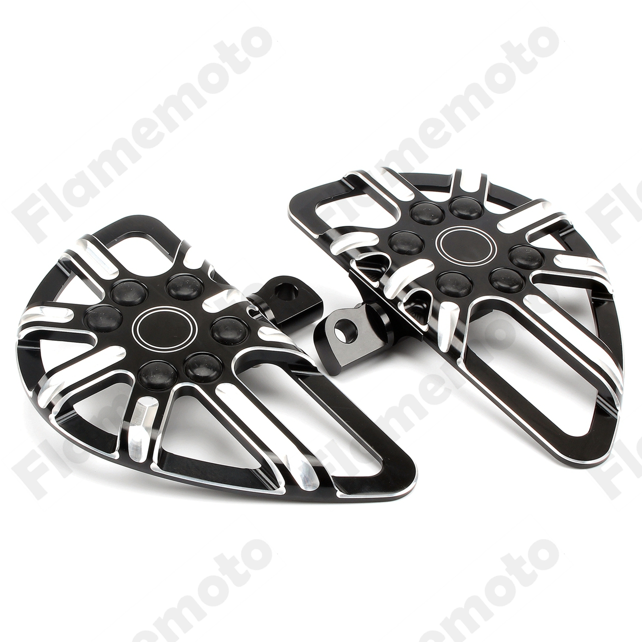 Black Motorcycle Foot Pegs Male Mount Footrest Floorboard Pedal For Harley Touring Electra Glide Dyna Fatboy Softail Sportster
