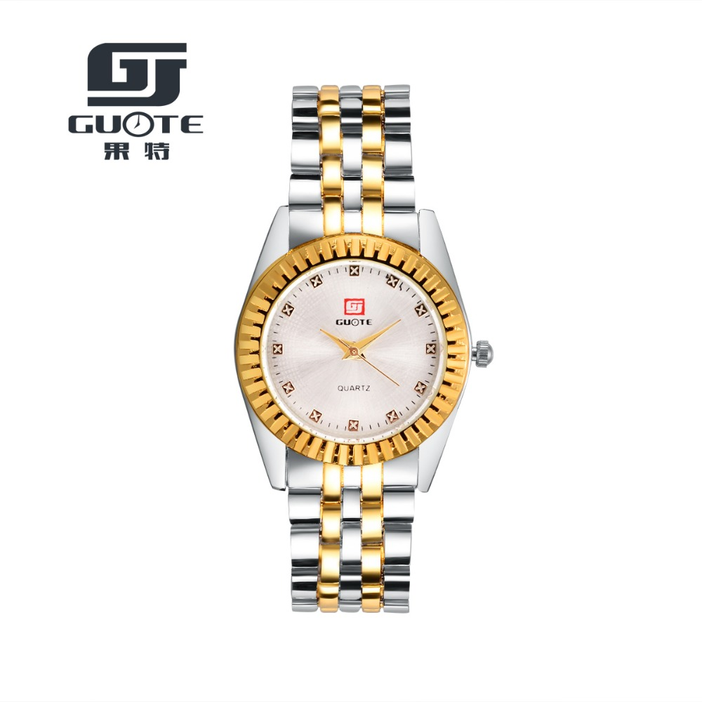 Fashion Stainless Steel Silver Gold Watch Luxury Brand GUOTE Quartz Watches Mens WristWatches New Hot table marca famosa