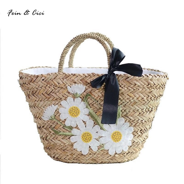 1a5bdba2db straw bag beach basket totes bag embroidery floral bucket bag appliques  large big summer bags women natural handbag 2017 new