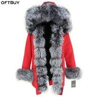 OFTBUY водостойкая длинная парка зимняя куртка для женщин натуральный мех пальто натуральным лисьим мехом меховой капюшон, воротник толстые т