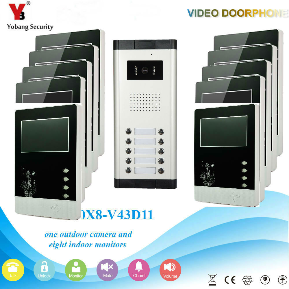 YobangSecurity Wired 4.3 Inch Monitor Video Door Bell Phone Intercom Home Gate Entry Security Kit System For 10Unit Apartment yobangsecurity wired 7 inch video door bell phone intercom rfid card access control home gate entry system for 2 apartment
