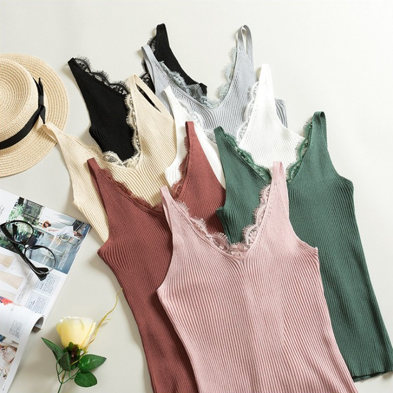 New Women sexy   tank     top   Hook Flower Lace   Tank   solid Stitching V-neck Camis Female Knitted Slim Sleeveless   Tank   Casual   Tops