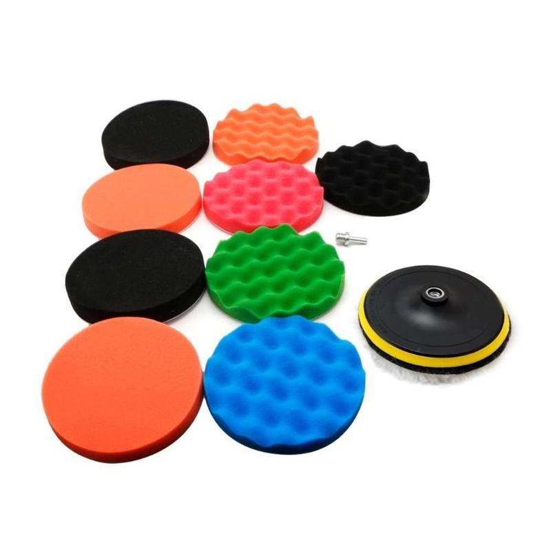 9+1/set 3/4/5/6/7 Inch Buffing Sponge Polishing Pad Kit