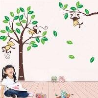 3d grande árvore macaco adesivo de parede para quarto de crianças decoração do quarto do bebê removível decalques de parede árvore genealógica parede pictures