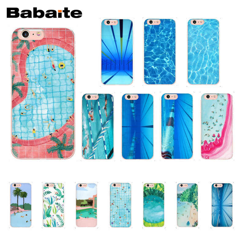 Babaite Funny illustration summer sky swimming pool Art Phone Case for  iPhone X XS MAX 6 6s 7 7plus 8 8Plus 5 5S SE XR 10