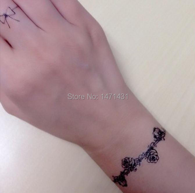 rose bracelet temporary tattoo stickers temporary body art supermodel stencil designs waterproof. Black Bedroom Furniture Sets. Home Design Ideas