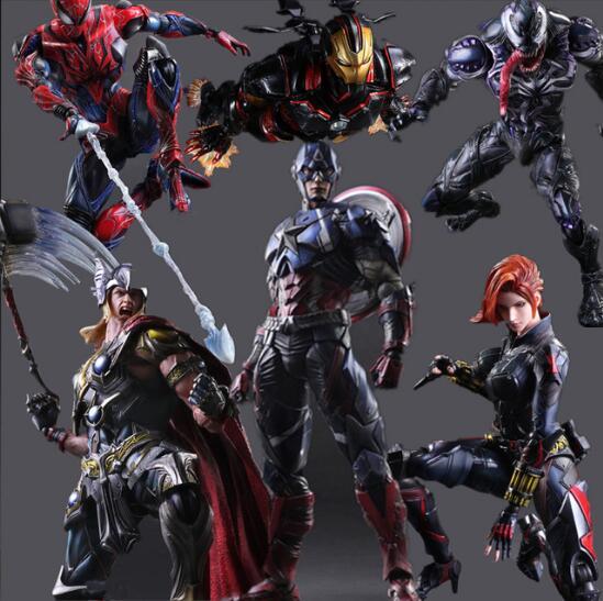 Superhero Action Figure Black Widow Spiderman Iron Man Vemon Thor Captain America Model Brinquedos Play Arts Kai PVC Figure Toys
